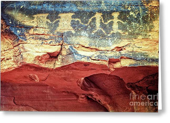 Red Rock Canyon Petroglyphs Greeting Card by Jim and Emily Bush