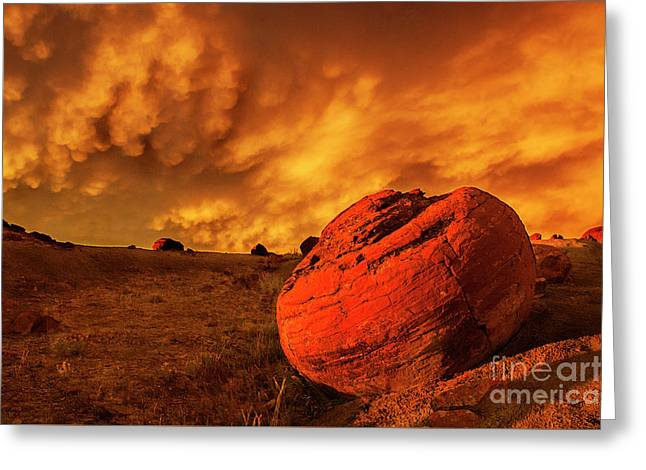 Red Rock Coulee Sunset 3 Greeting Card
