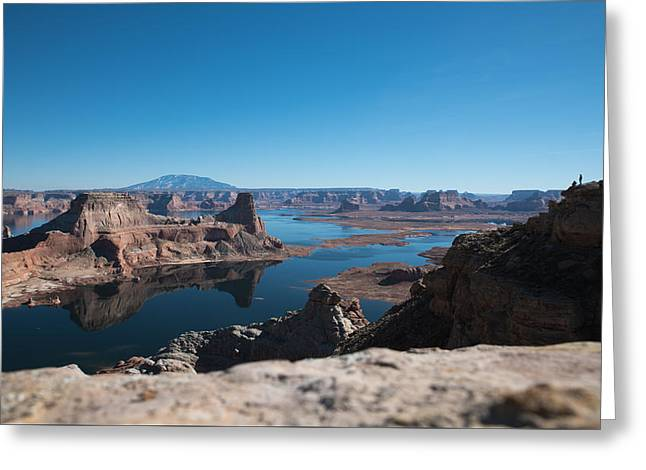 Red Rocks Drifting In Lake Powell Greeting Card