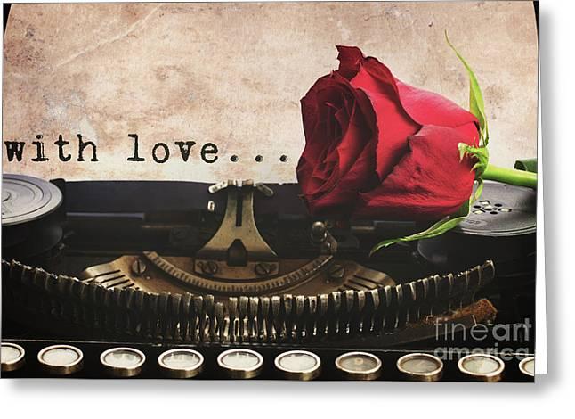 Red Rose On Typewriter Greeting Card