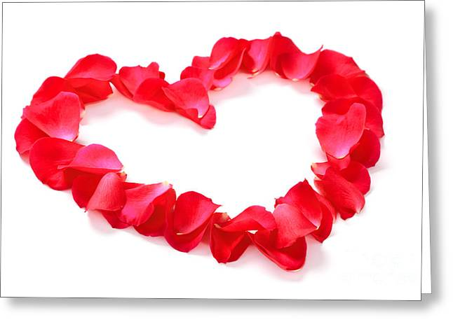 Red Rose Petal Heart Isolated On White Greeting Card