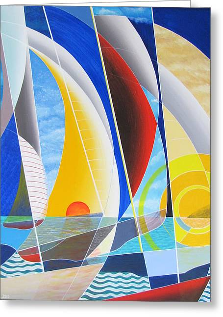 Greeting Card featuring the painting Red Sail In The Sunset by Douglas Pike