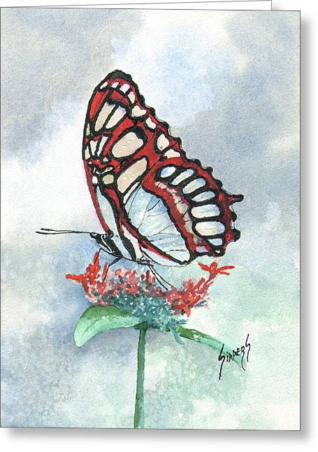 Greeting Card featuring the painting Red by Sam Sidders