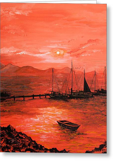 Red Sea Sunset Greeting Card by Jane Woodward