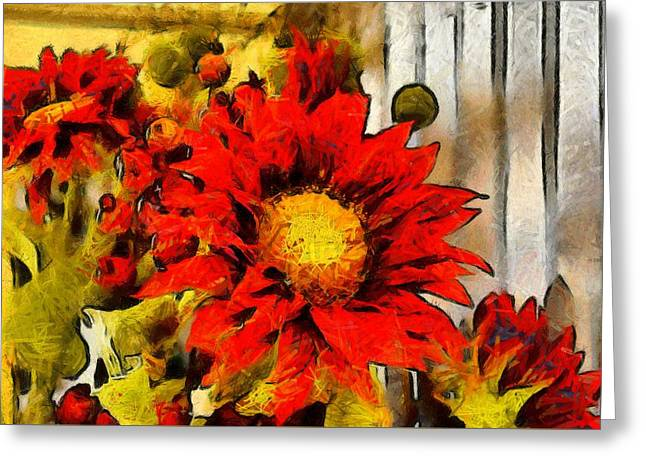 Red Sunflower Painting Greeting Card by Floyd Snyder