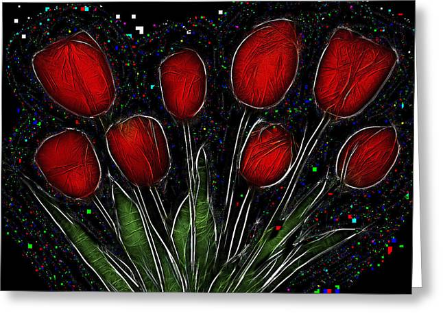 Red Tulips 2 Greeting Card by Alexey Bazhan