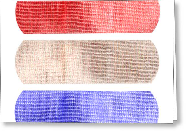 Red White And Blue Bandaids Greeting Card by Blink Images