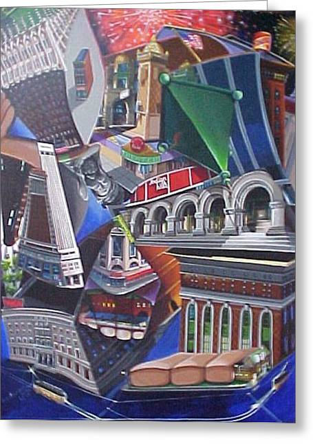 Reflecting On A City Greeting Card by Bobbi Baltzer-Jacobo