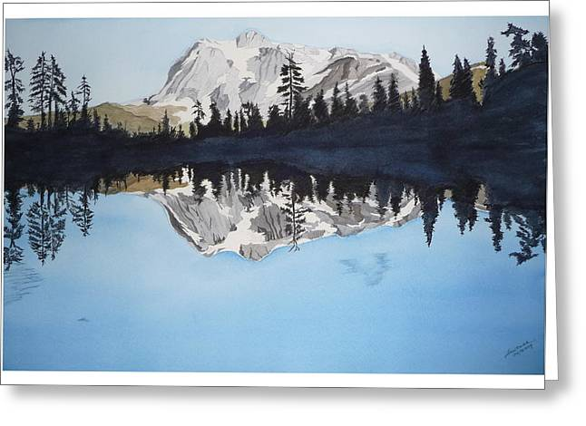 Greeting Card featuring the painting Reflection Lake by Joel Deutsch