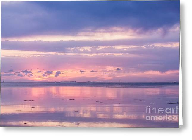 Reflections At Sunset In Key Largo Greeting Card