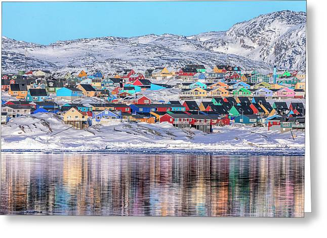 reflections of Ilulissat - Greenland Greeting Card by Joana Kruse