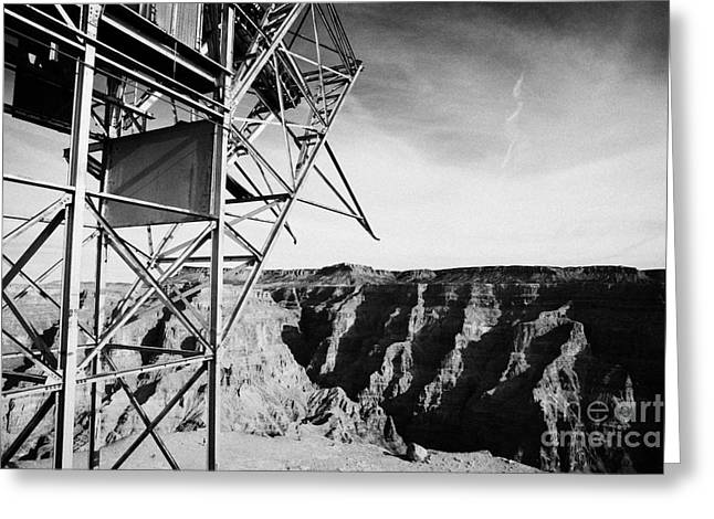 remains of old tramway headhouse for the mine at guano point Grand Canyon west arizona usa Greeting Card by Joe Fox
