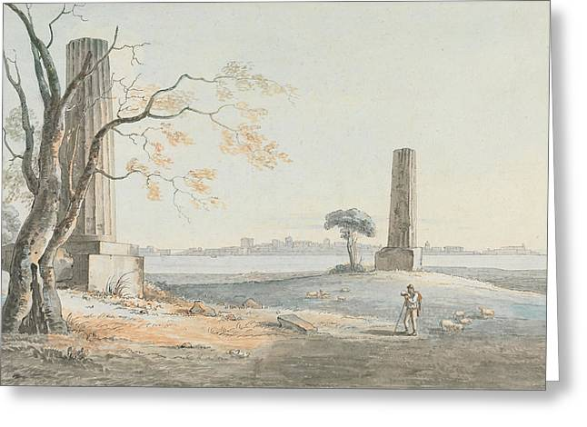 Remains Of The Temple Of Olympian Jove With A View Of Ortygia Syracuse Greeting Card by Henry Tresham