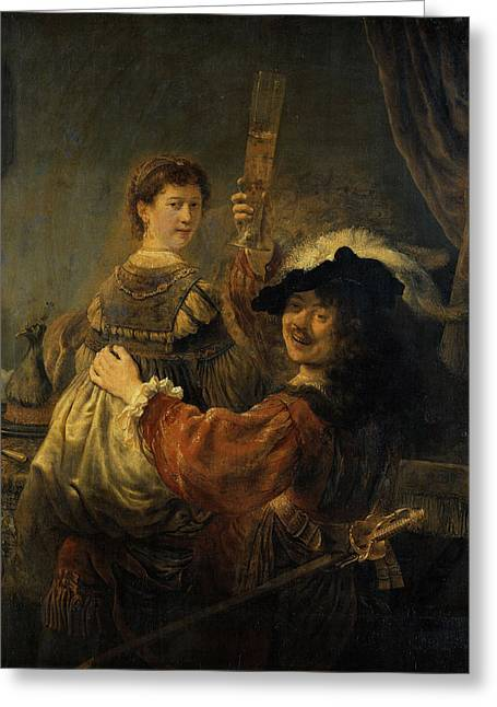 Rembrandt And Saskia In The Parable Of The Prodigal Son Greeting Card by Rembrandt van Rijn