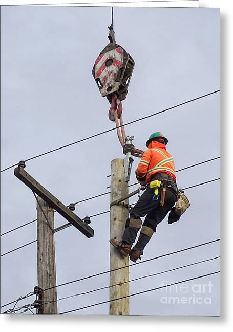 Replacing A Telephone Pole Greeting Card by Scimat