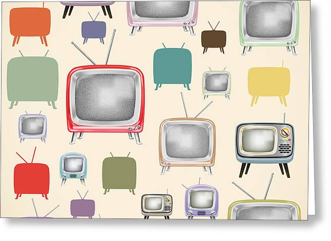 retro TV pattern  Greeting Card by Setsiri Silapasuwanchai