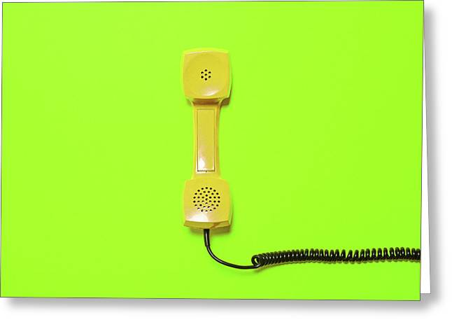 Retro Yellow Telephone Tube On Fluorescent Green Background - Mi Greeting Card