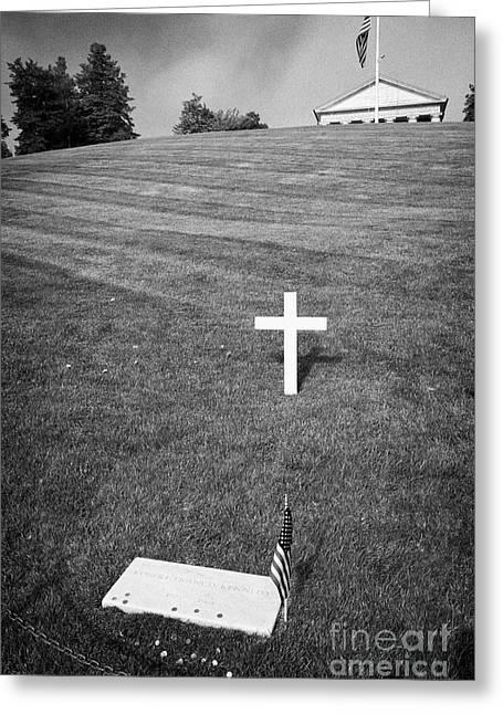 rfk robert francis kennedy grave with coins arlington cemetery Washington DC USA Greeting Card