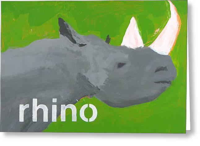 Rhinoceros Greeting Card by Laurie Breen