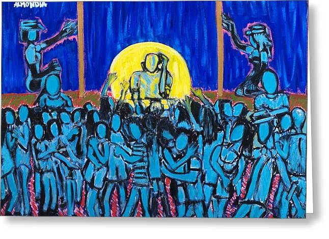 Rhythm Blue Greeting Card by Albert Almondia
