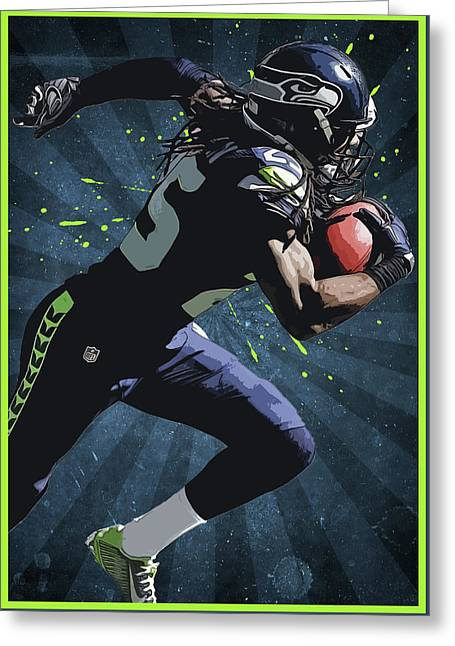 Richard Sherman Greeting Card by Semih Yurdabak