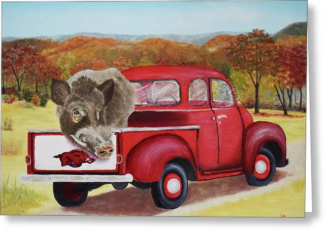 Ridin' With Razorbacks 2 Greeting Card by Belinda Nagy