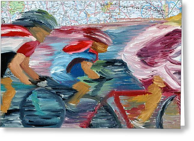 Riding The Roads Greeting Card by Michael Lee