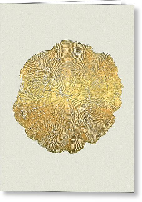 Rings Of A Tree Trunk Cross-section In Gold On Linen  Greeting Card