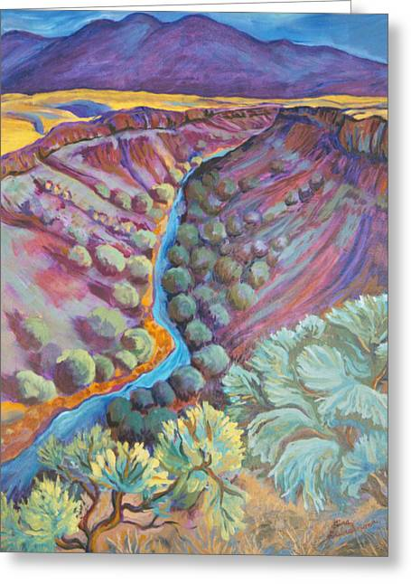 Contemporary Western Contemporary Greeting Cards - Rio Grande in September Greeting Card by Gina Grundemann