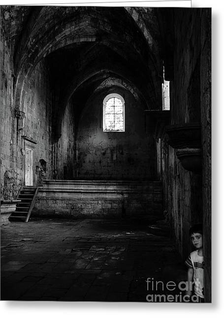 Greeting Card featuring the photograph Rioseco Abandoned Abbey Nave Bw by RicardMN Photography