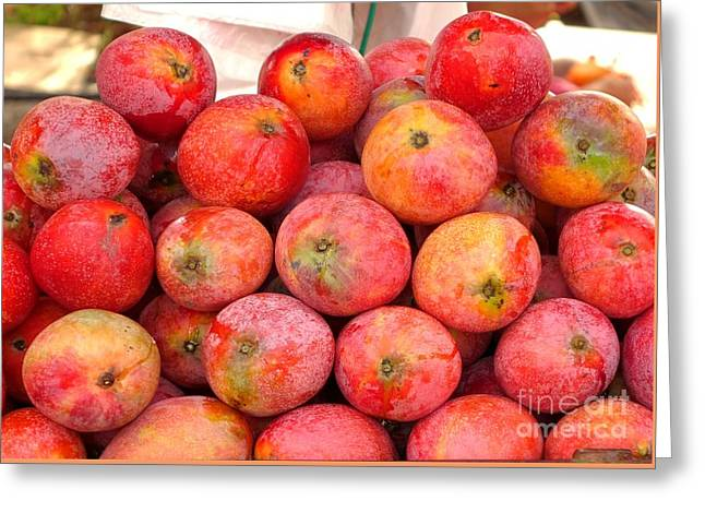 Ripe Red Mangoes For Sale Greeting Card by Yali Shi