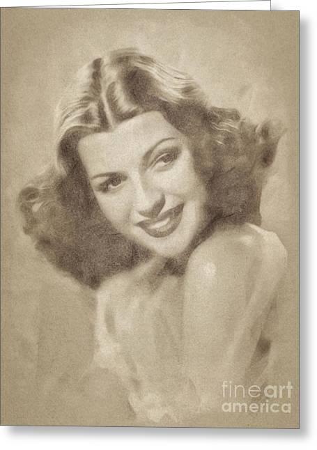 Rita Hayworth, Vintage Actress By John Springfield Greeting Card by John Springfield