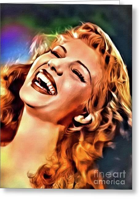 Rita Hayworth, Vintage Actress. Digital Art By Mary Bassett Greeting Card by Mary Bassett