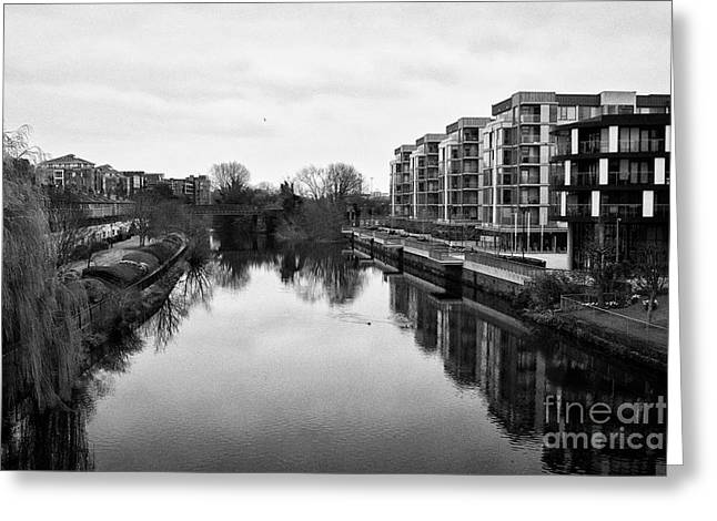 river liffey by st james walk on overcast day dublin Ireland Greeting Card by Joe Fox