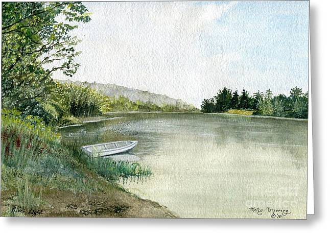Greeting Card featuring the painting River Light by Melly Terpening