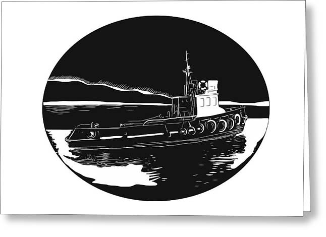 River Tugboat Oval Woodcut Greeting Card