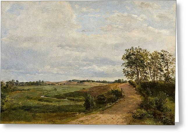 Road Across The Hills. Study Greeting Card by Dankvart Dreyer