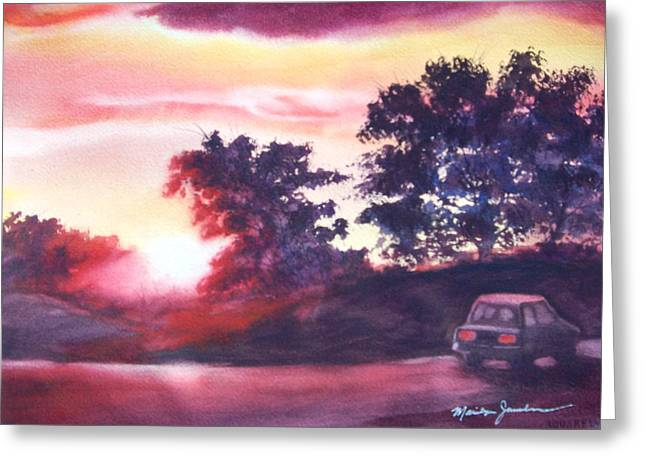 Greeting Card featuring the painting Road To Fargo by Marilyn Jacobson
