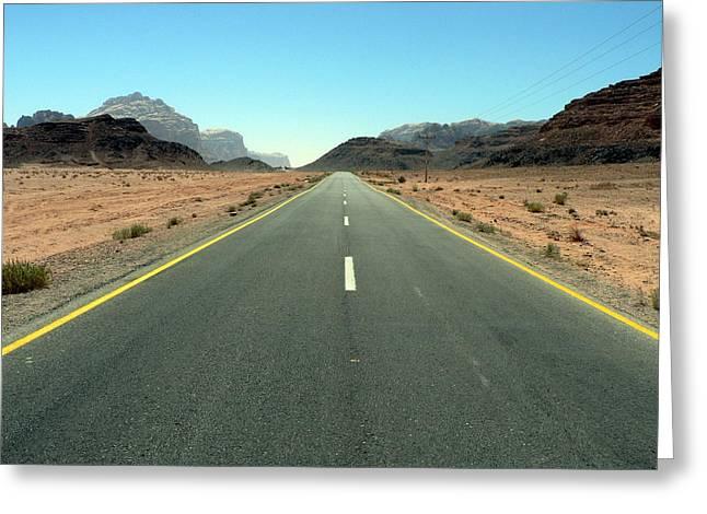 Road To Wadi Greeting Card by James Lukashenko