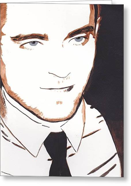 Greeting Card featuring the painting Robert Pattinson 11 by Audrey Pollitt