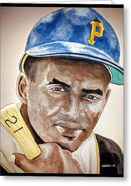 Roberto Clemente - Watercolor Painting Greeting Card by Edwin Alverio
