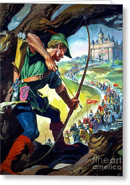 Knighted Greeting Cards - Robin Hood Greeting Card by James Edwin McConnell
