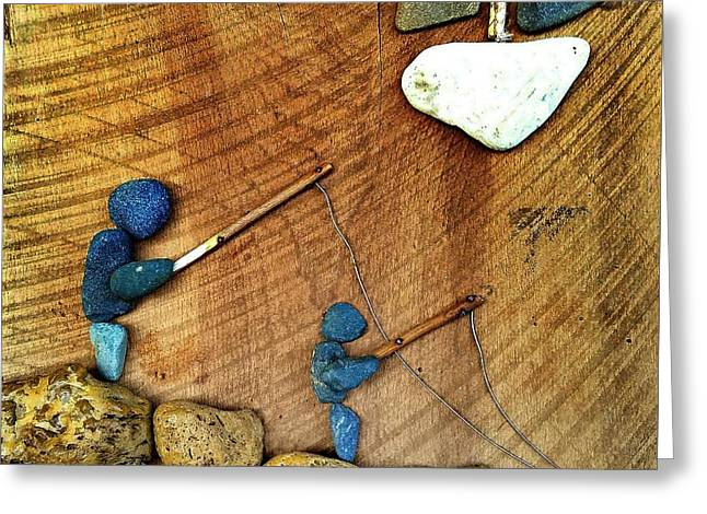 Rock Art Fishing Friends Greeting Card