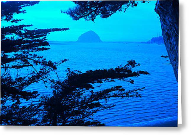 Rock In A Lake At Dusk, Morro Rock Greeting Card