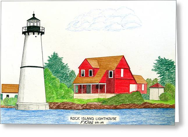 Rock Island Lighthouse Greeting Card by Frederic Kohli