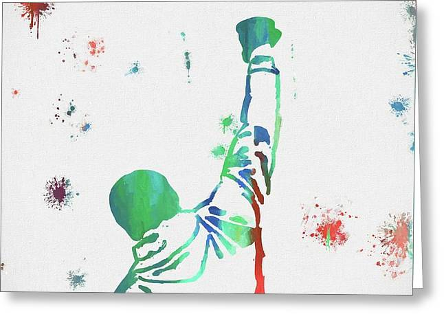 Rocky Balboa Paint Splatter Greeting Card by Dan Sproul