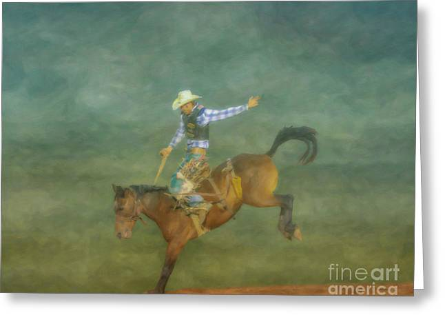 Rodeo Bronco Busting  Three Greeting Card