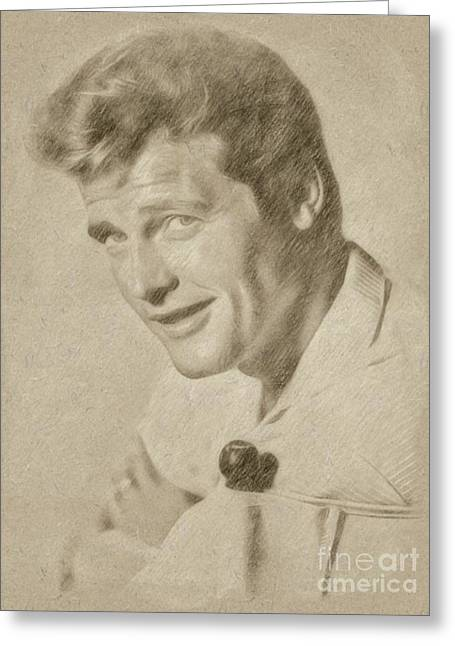 Roger Moore Hollywood Actor Greeting Card by Frank Falcon