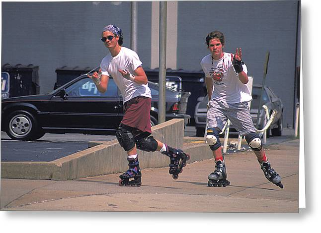 Roller Bladers In Miami Beach Greeting Card by Carl Purcell