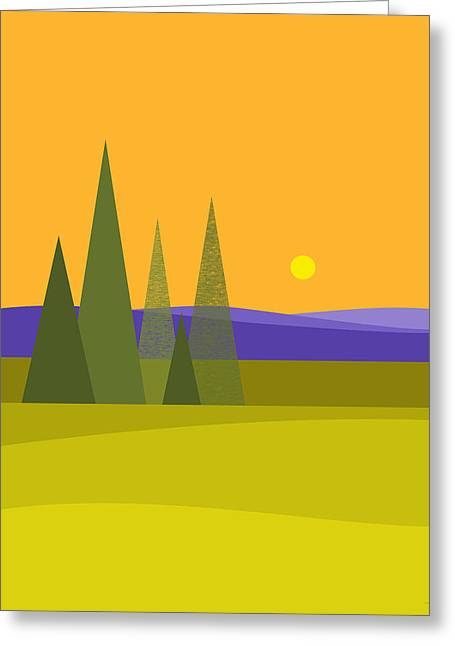 Rolling Hills Greeting Card by Val Arie